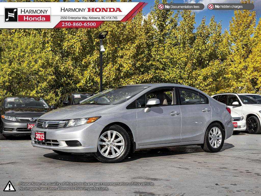 Pre-Owned 2012 Honda Civic Sedan EX - BC VEHICLE - LOW KM - SUNROOF - BLUETOOTH - FOG LIGHTS - SERVICED AT HARMONY